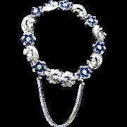 Designer Signed Pennino Sapphire Blue and Clear Flower Bracelet