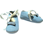 1950's Mrs. Day's Ideal Baby or Doll Shoes, LIght Blue Cord