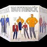 Tri-fold Cardboard Display of 1980s Butterick Designer Patterns