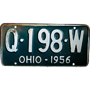 1956 Single Ohio License Plate, Embossed White on Green