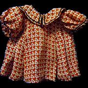 Unusual Figured Crepe Fabric Doll Dress, 1930s