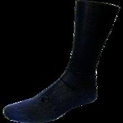 Long Black Utilitarian Heavy Cotton Knit Lady's Stockings, 1906
