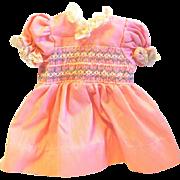 Vintage Smocked Pink Lace Trimmed Doll Dress