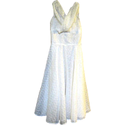 1950's Empire Style White Eyelet Tea Length Party Dress/Gown