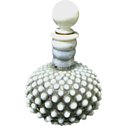 Vintage Opaline Bulbous Hobnail Perfume Bottle with Stopper