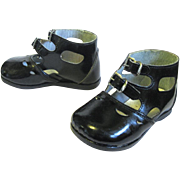 Tot or Doll Chic Patent Leather High Top Buckle Shoes