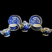 Children's Vintage 10-Piece Blue Willow Tea Set with Birds