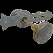 "East Lake Aesthetic Bronze/Brass ""Drum"" Door Knobs, Matching Backplate"