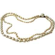 Double Strand Faux Baroque Pearl Necklace
