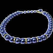 Blue Faux Pearl Choker with Rhinestone Rondels