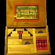 German Architectural Building Blocks in Original Slide Lid Box, 1940s