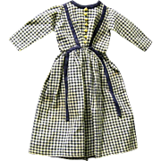 SOLD Country Victorian Blue and White Check Dress for China Doll Dress, Never Used