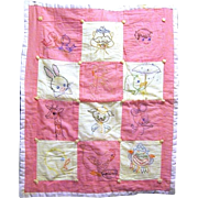 Vintage Doll or Baby Comforter, Pieced with Embroidered Animals