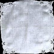 Vintage White Linen Wedding Hankie, Net Tulips among Whitework Embroidery
