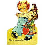 German Mechanical Die-cut Valentine, Sailor with Parrot, Monkey and Birdcage