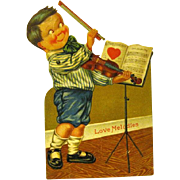 1925 Mechanical German Valentine, Boy Violinist