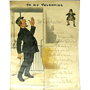 "1902 Tuck Comic Valentine, ""The Conductor"""