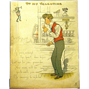 "Raphael Tuck Comic Valentine, 1902, ""Drug Store Clerk"""