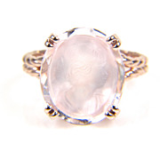 Morganite Ring - Rose Gold Morganite Ring - Cameo Ring - Oval Morganite