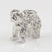 SALE .924 Sterling Silver Sheepdog Charm - Animal Charm - Silver Charms