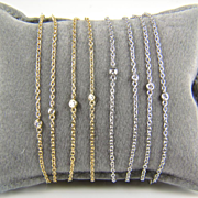 Yellow Gold Gold Diamond by the Yard Necklace AND Bracelet - Diamond by the Yard - Anniversary Gift