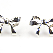 SALE Silver Bow Earrings - Bow Jewelry - Silver Earrings - Bow