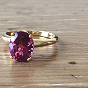 SALE Oval AA Quality Pink Tourmaline 18k Yellow Gold Fleur de Lis Ring - Large Gemstone Ring -