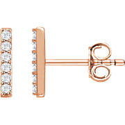 SALE Vertical Bar Earrings - Diamond Bar Earrings - Rose Gold Earrings - Diamond Earrings - Ev