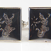 SALE .925 Sterling Silver and Enamel Cuff Links - Sea Goddess Cuff Links