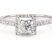 SALE Princess Cut Diamond Halo Ring - Diamond Engagement Ring - 1 Carat Diamond Ring