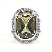 SALE Lemon Quartz Diamond Halo Ring in .925 Sterling Silver
