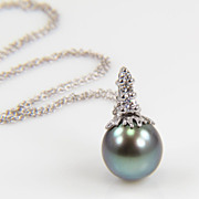 SALE Tahitian Pearl and Diamond Necklace  Gray Pearl Pendant