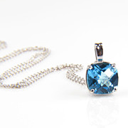 SALE Topaz - Topaz Pendant - Swiss Blue Topaz Necklace - Pendants
