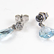 Aquamarine Briolette and Diamond 14K White Gold Earrings