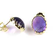 Amethyst Earrings - 18K Yellow Gold Amethyst Earrings - February Birthstone