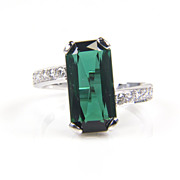 SALE Tourmaline Ring - Tourmaline and Diamond Ring - Cocktail Ring - Large Gemstone Ring - Gre