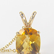 Citrine Pendant - Cushion Cut Citrine - Citrine Gemstone - November Birthstone - Gold Pendant