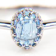 SALE Oval Aquamarine Cabochon Ring in 14K White Gold Setting