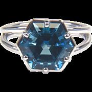 SALE London Blue Topaz 14K White Gold Ring December Birthstone Ring
