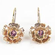 SALE Round Pink Tourmaline 14K Yellow Gold Flower Earrings - October Birthstone Earrings