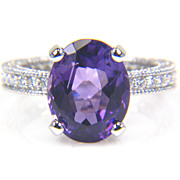 SALE Oval Amethyst Ring and Diamond Ring in 14K White Gold - February Birthstone Ring - Cockta