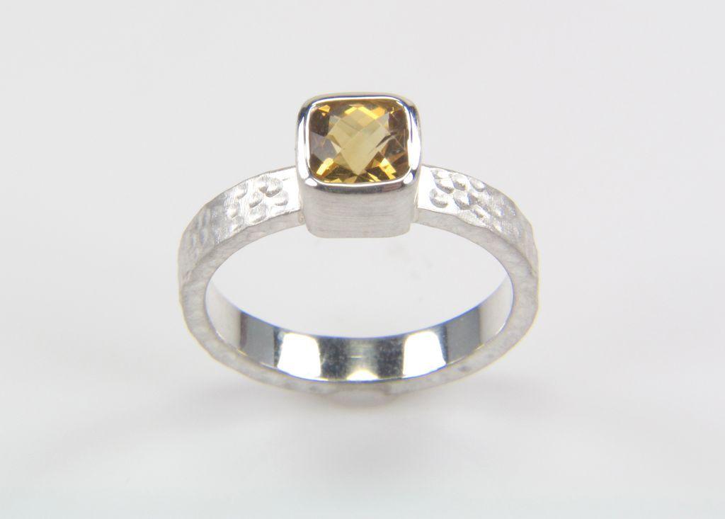 Citrine Ring in Sterling Silver - Silver Citrine Ring - November Birthstone Ring