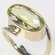 SALE Lime Green Beryl Gold Ring - Gemstone Ring - Jewel Ring