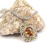 SALE Citrine Pendant - Citrine - Silver Citrine Pendant - Citrine Necklace - Gemstone Diamond