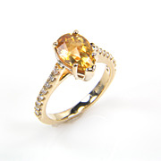 SALE Pear Shape Citrine Ring - Citrine Ring - November Birthstone Diamond Ring - Rings - Yello