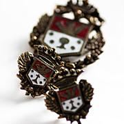 1940s Regal Coro Enameled Medallion Brooch and Earrings