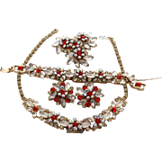 Juliana D&E Red Orange and Frosted White Navette Grand Parure