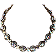 SALE Hollycraft Sparking Round Rhinestone Link Necklace, Antiqued Finish, 1955