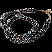 Antique Venetian Black Skunk, Eye Glass Beads, African Trade