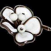 SALE Trifari White Magnolia Glass Brooch